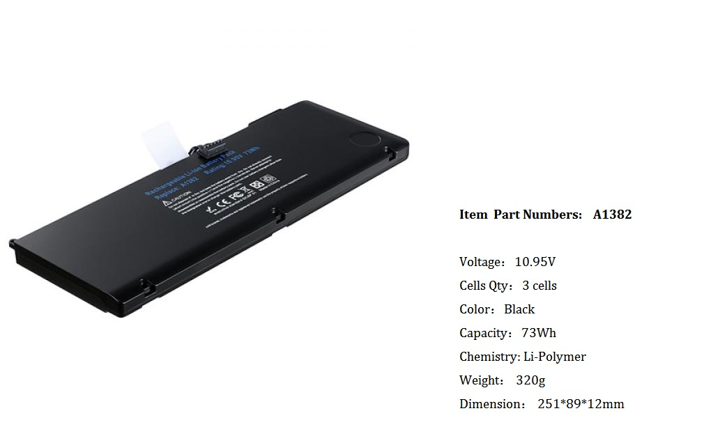 Apple A1382 replacement laptop battery